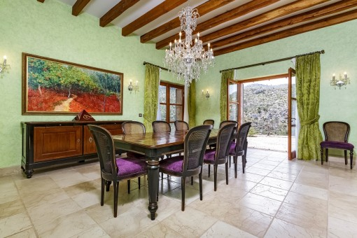 Dining area with mountain views