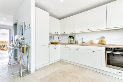 The modern kitchen is equipped with good appliances