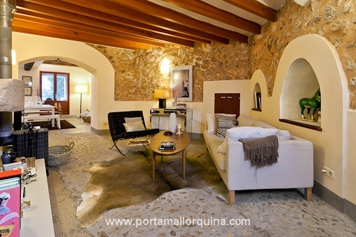 Cozy living room with natuer stone walls