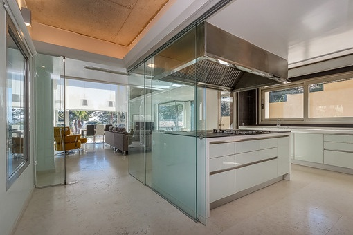 Elegant kitchen with views to the living area