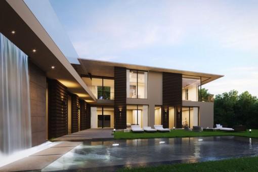 Villa with modern architecture and sea views in a prestigious location in Santa Ponsa
