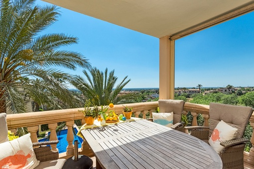 Covered terrace with panoramic sea views