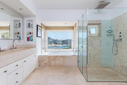 Bathroom with shower, bathtub and daylight