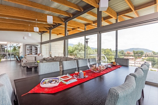 Open dining and living area with fantastic views