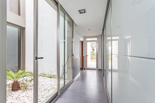 Corridor with panoramic windows on the ground floor