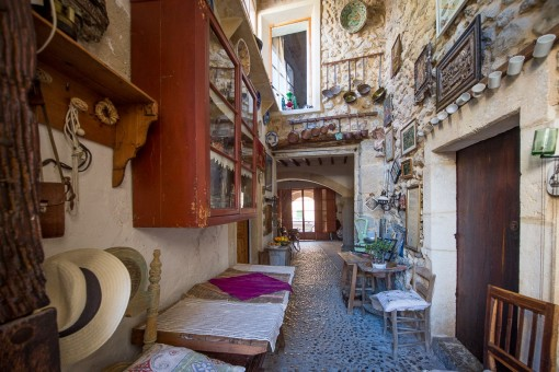 Corridor with antique decoration