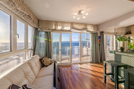 Lightflooded living area with sea views