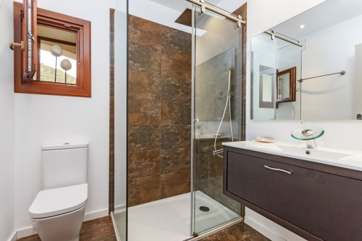 Bathroom with shower and natural light