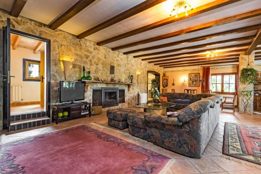 Extensive living area with fireplace