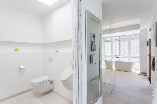 Modern bathroom with natural light
