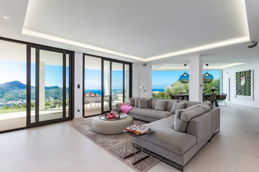 Inviting living area with access to the terrace