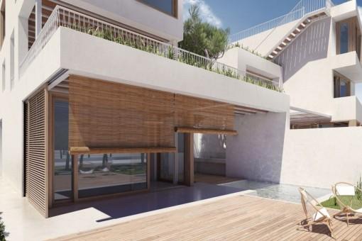 Great wooden sun terrace