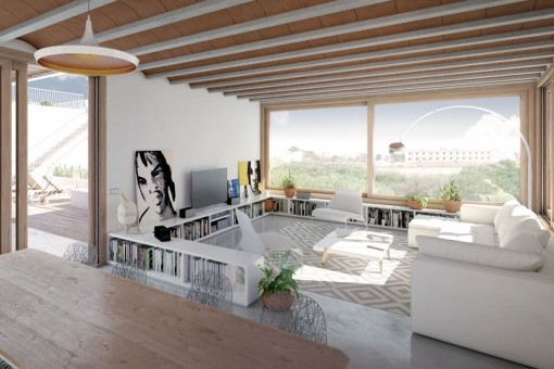Beautiful living and dining area with panoramic windows