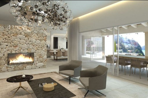 Cosy fireplace area with access to the terrace