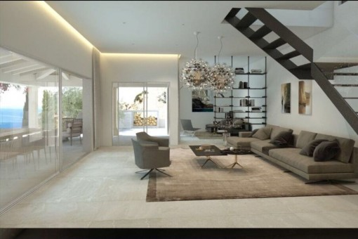 Spacious living area with comfortable lounge
