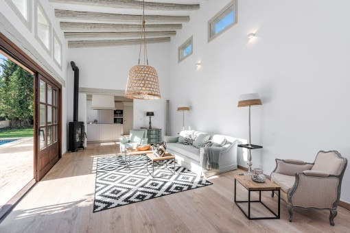 Modern living area and kitchen