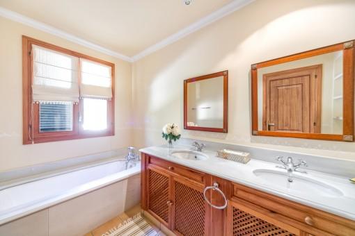 Inviting bathroom with bathtub