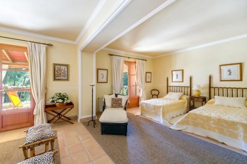 Generous bedroom on the upper floor