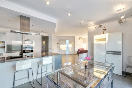 Spacious living and dining area with open kitchen