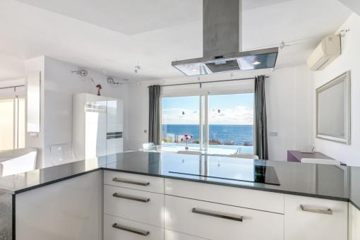 Elegant kitchen with sea views