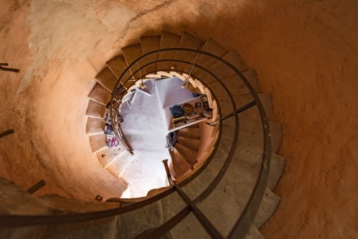 The spiral staircase of the tower connects 3 floors