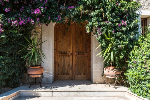 Front door made of massive wood
