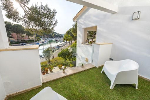 Sunny terrace with seating area