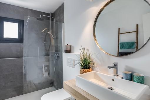 Elegant bathroom wiht walk-in shower