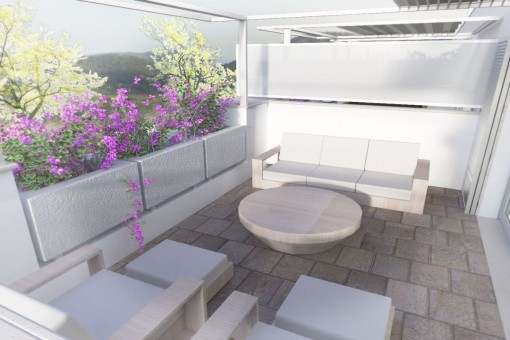 Terrace with cosy chill-out lounge