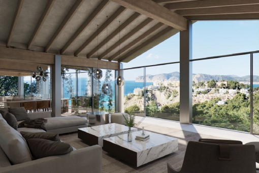 Fantastic 4-bedroom villa project with a swimming pool, SPA and beautiful sea views in Santa Ponsa
