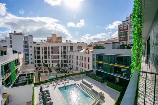 Stylish designer-apartment with parking space and communal pool in the centre of Palma only 100 metres from the old town