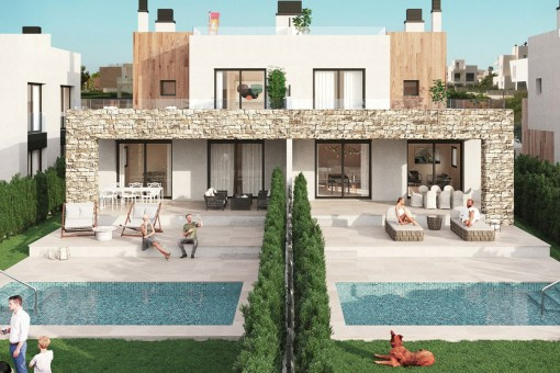 The last-available semi-detached houses with private pool in a spectacular residential complex nearto the marina of Sa Rapita