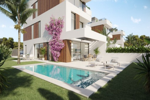 High-class project of semi-detached houses with 5 bedrooms, private pool and sea views in Portocolom